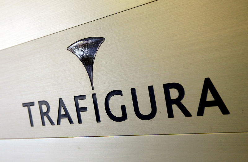 © Reuters. Trafigura logo is pictured in the company entrance in Geneva