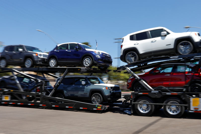 © Reuters. FILE PHOTO:  Imported vehicles are shown out for delivery in National City, California