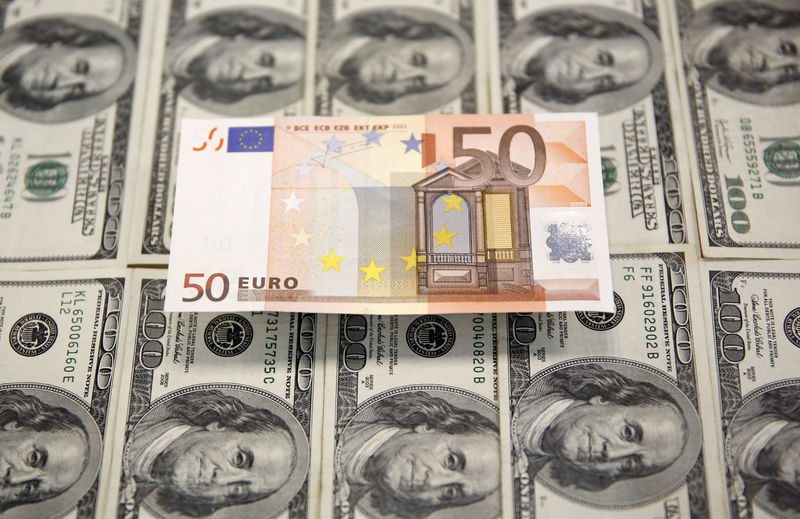 © Reuters. PHOTO PHOTO: The picture shows euro and dollar bills in Sarajevo
