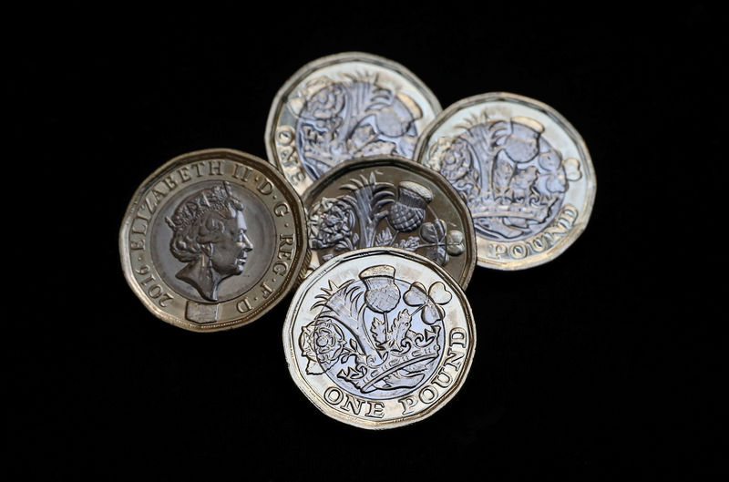 © Reuters. New one pound coins, which come into circulation today, are seen in London
