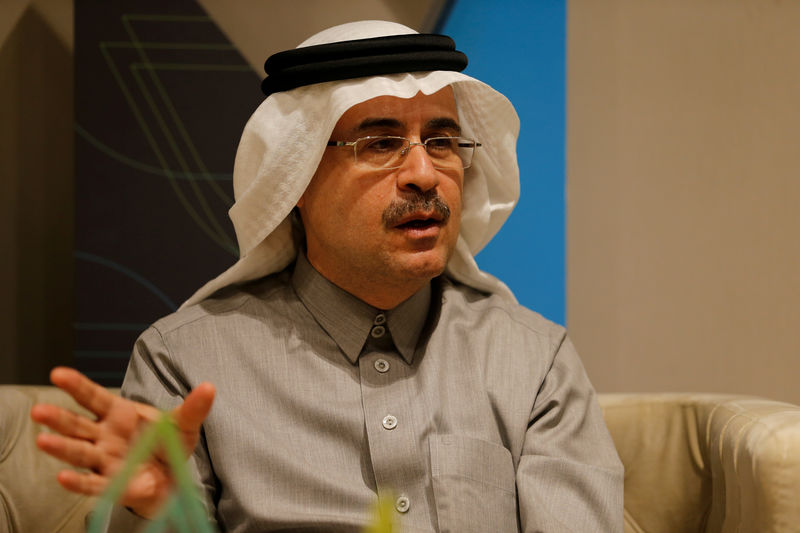 © Reuters. FILE PHOTO: The chief executive of Saudi Aramco, Amin Nasser, speaks during an interview with Reuters in Dhahran
