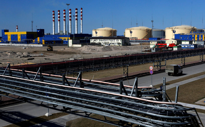 © Reuters. FILE PHOTO: A general view shows the Ust-Luga oil products terminal