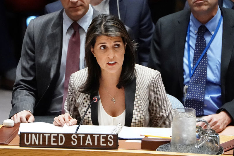 © Reuters. US Ambassador to the United Nations Haley speaks at UN HQ in New York City