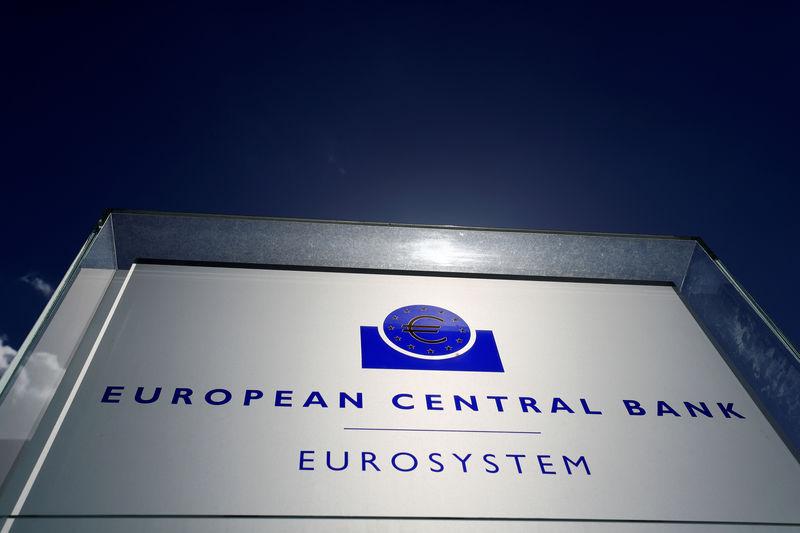 ©路透社。 文件照片:欧洲中央银行(ECB)的标志位于法兰克福总部外