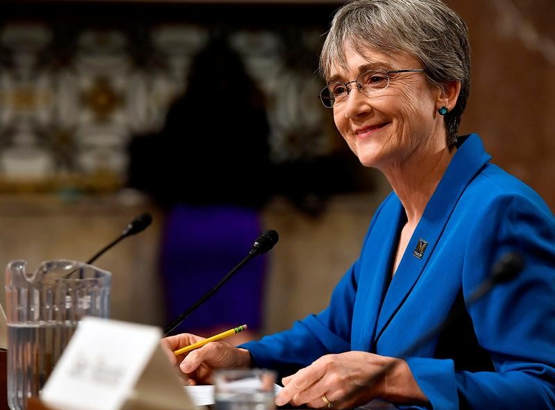 ? Reuters. U.S. Secretary of the Air Force Nominee Heather Wilson testifies before the Senate Armed Services Committee in Washington