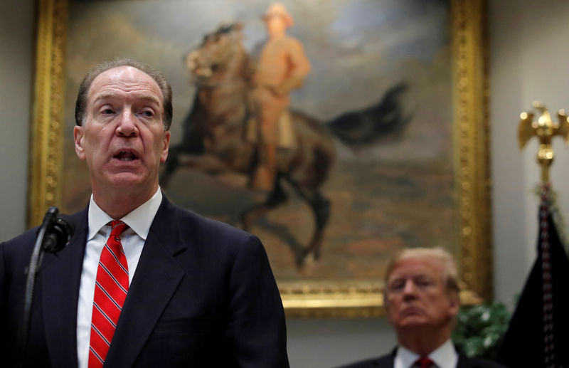 © Reuters. FILE PHOTO: U.S. candidate in election for the next President of the World Bank David Malpass speaks at an event with U.S. President Donald Trump at the White House in Washington