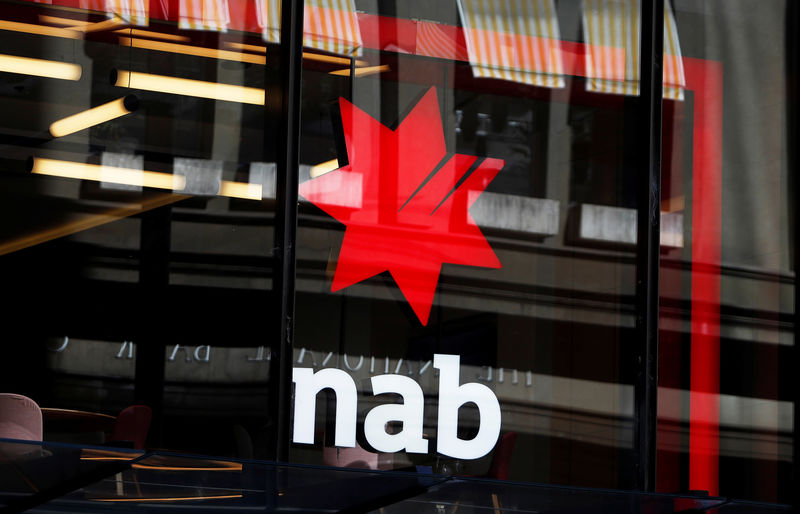 © Reuters. The National Australia Bank Logo is seen on a branch in central Sydney