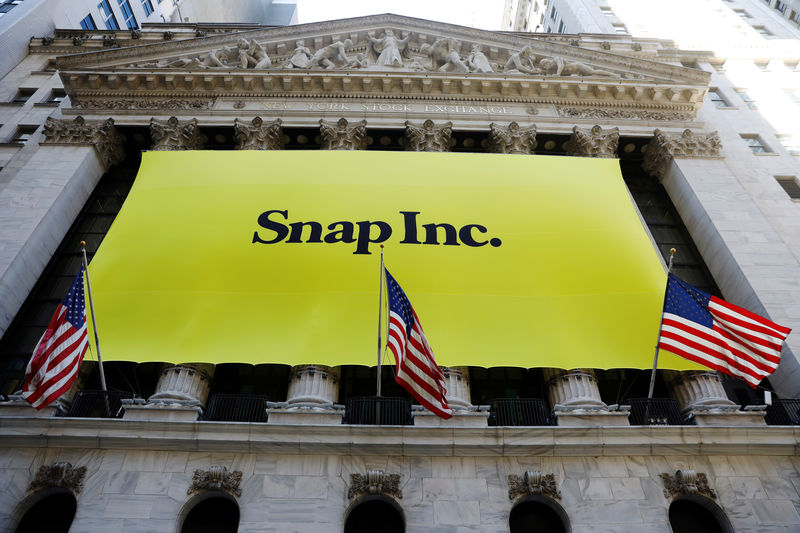 © Reuters. The front of the New York Stock Exchange (NYSE) with a Snap Inc. logo hung on the front of it stands shortly before the company's IPO in New York