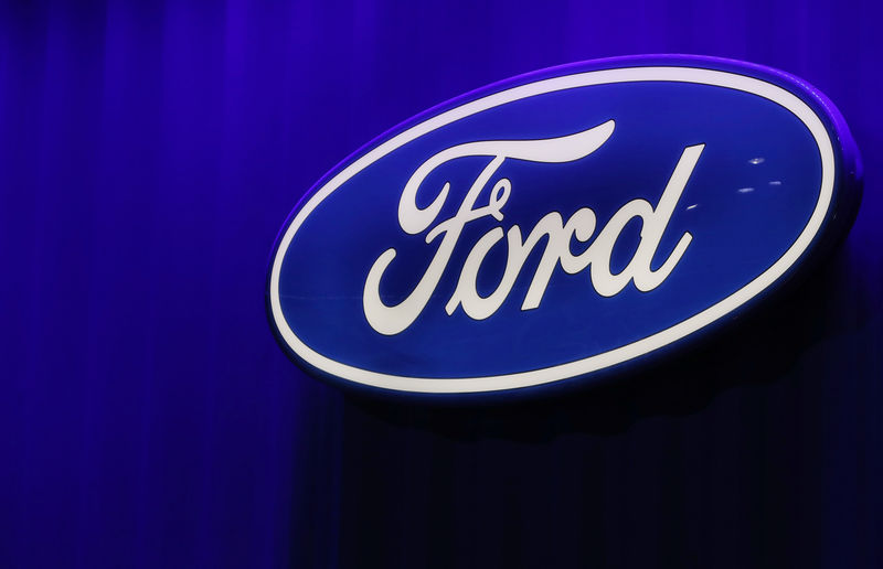 © Reuters. FILE PHOTO: Ford logo is seen at the North American International Auto Show in Detroit, Michigan