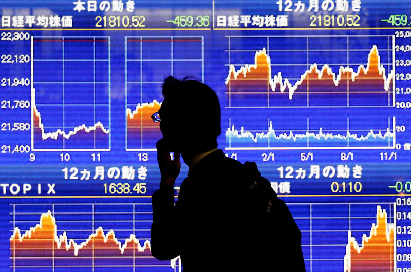 © Reuters. FILE PHOTO : A man looks at an electronic stock quotation board showing Japan's Nikkei average outside a brokerage in Tokyo