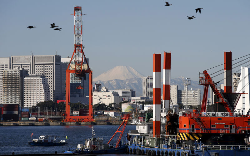 © Reuters. FILE PHOTO - Birds fly in front of Mt. Fuji and a crane at a port in Tokyo