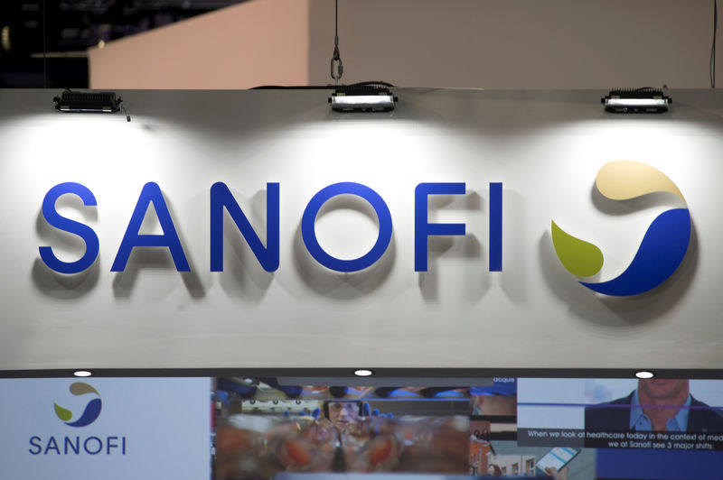 © Reuters. The logo of Sanofi is pictured during the Viva Tech start-up and technology summit in Paris