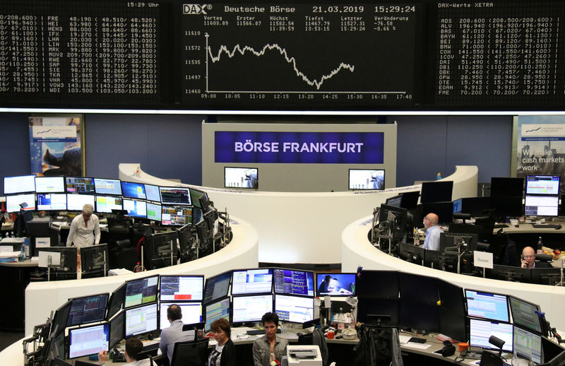 © Reuters. German stock price index DAX graph on the Frankfurt stock exchange