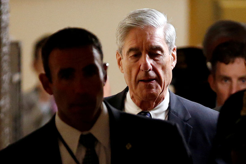 © Reuters. FILE PHOTO: Special Counsel Mueller departs after briefing members of the U.S. Senate on his investigation in Washington
