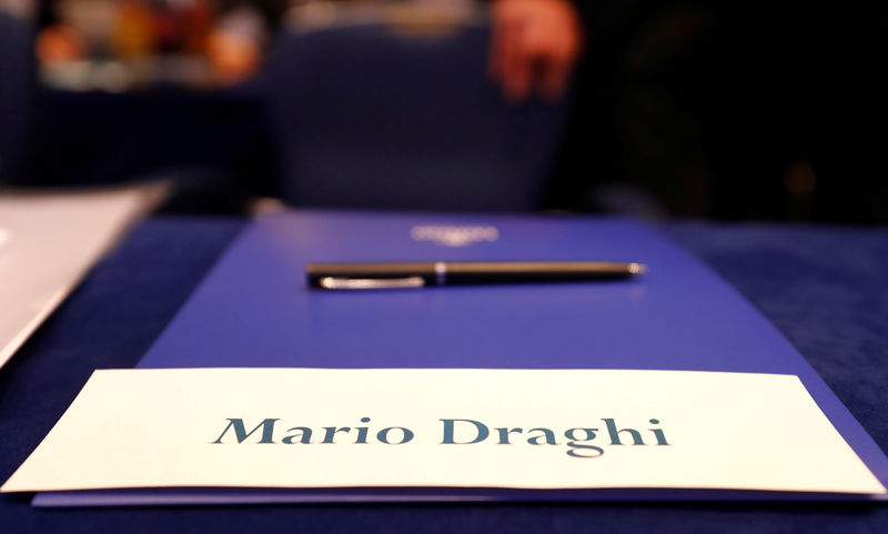 © Reuters. The workplace for Mario Draghi, President of the European Central Bank (ECB), will be prepared at the conference