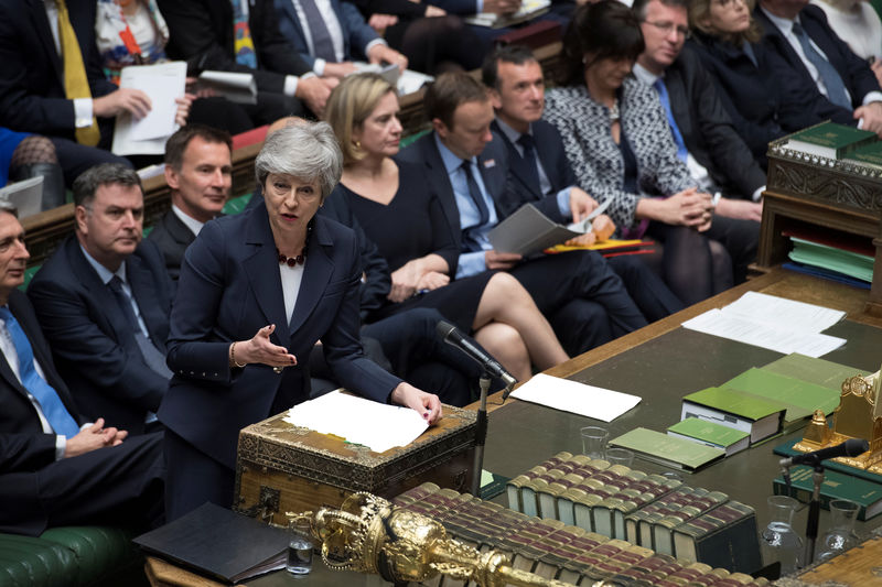 © Reuters. British PM May speaks at the House of Commons in London