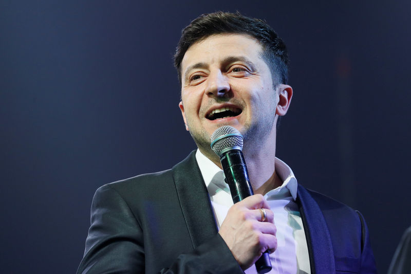 © Reuters. Volodymyr Zelenskiy hosts a comedy show at a concert hall in Brovary