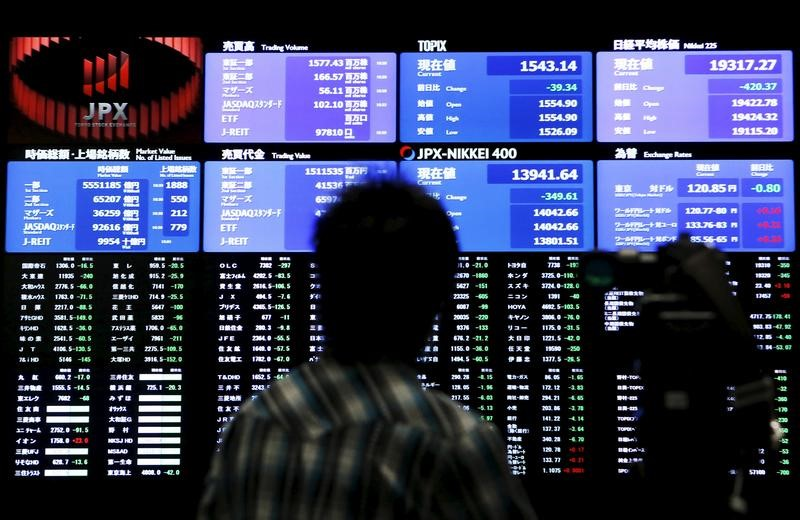 © Reuters. FILE PHOTO: A videographer films an electronic board showing the Japan's Nikkei average and related indexes at the Tokyo Stock Exchange in Tokyo