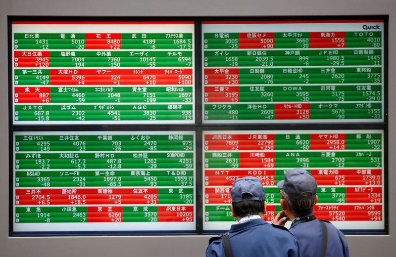 © Reuters. FILE PHOTO: Men look at stock prices outside a broker in Tokyo