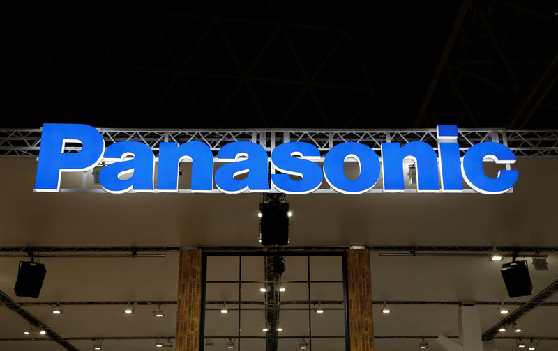 © Reuters. FILE PHOTO:  A logo of Panasonic Corp is pictured at the CEATEC JAPAN 2017 in Chiba