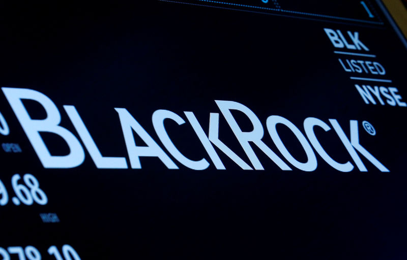 © Reuters. PHOTO FILES: The company logo and trade information for BlackRock are displayed on the screen on the NYSE floor