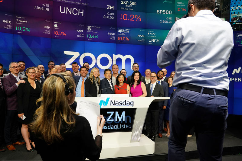 Zoom starts trading at $65 per share, 80 percent above IPO price