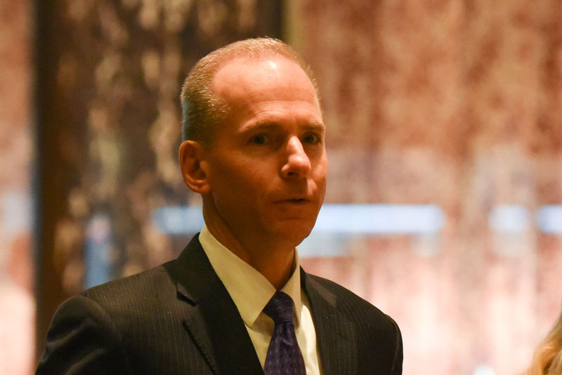 © Reuters. FILE PHOTO: Dennis Muilenburg, CEO of The Boeing Company, arrives at Trump Tower in New York City