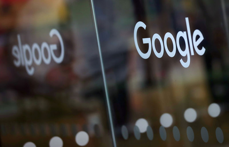 © Reuters. FILM PHOTOS: The Google logo is displayed at the entrance to Google offices in London