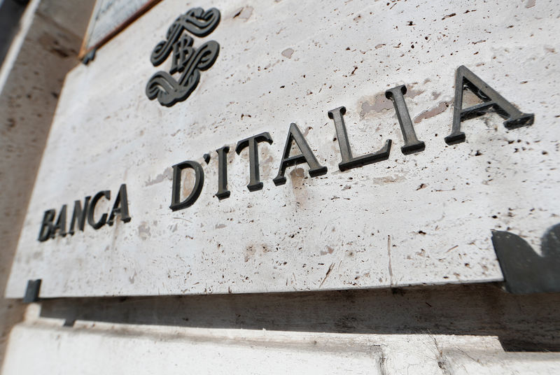 © Reuters. Banca D'Italia sign is seen in downtown Rome