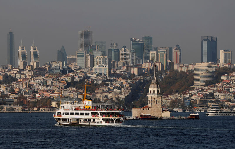 © Reuters. FILE PHOTO: A ferry, with city's skyscrapers in the background, travels along the Bosphorus in Istanbul