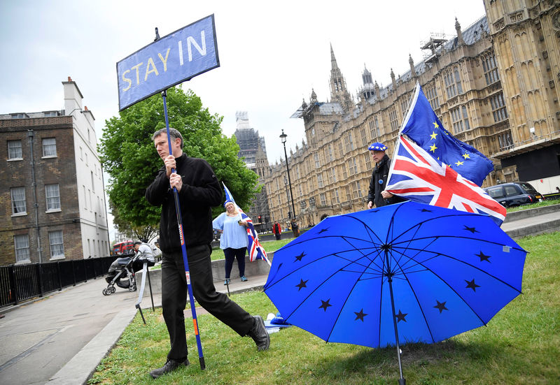© Reuters. Anti-Brexit protesters are seen near the Houses of Parliament in London