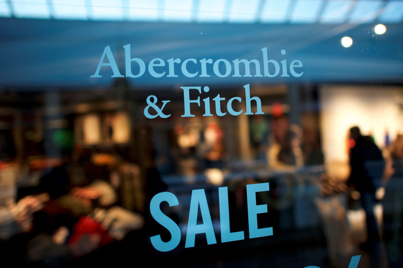 © Reuters. An Abercrombie & Fitch storefront sign states