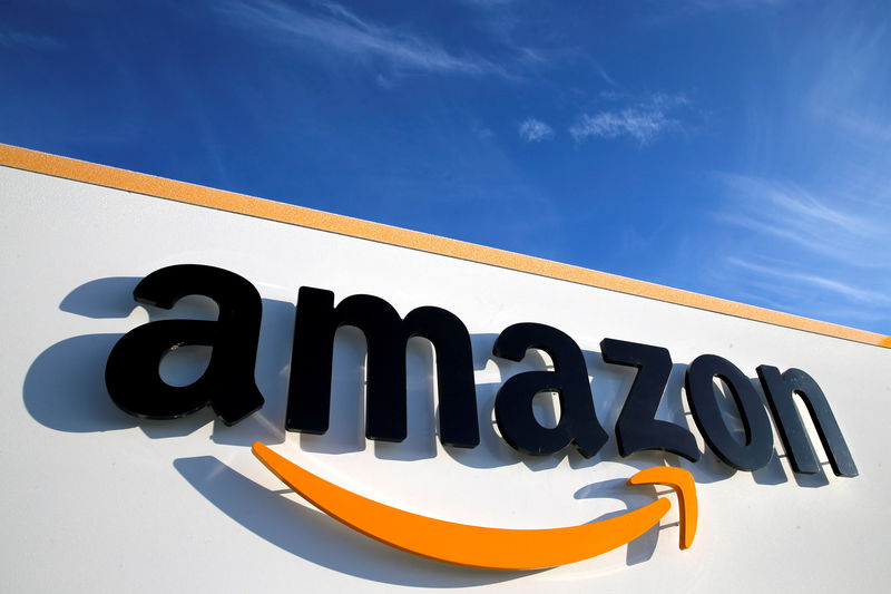 © Reuters. FILE PHOTO: The Amazon logo is visible at the company's logistics center in Boves, France.