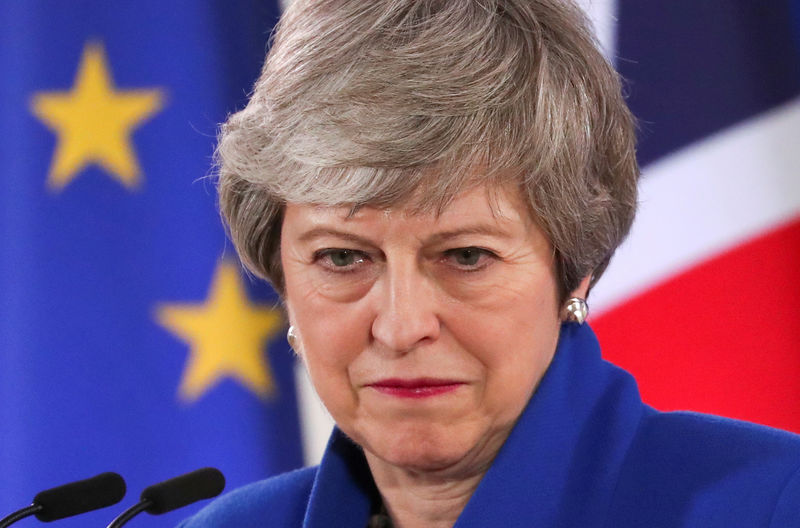 © Reuters. FILE PHOTO: British Prime Minister Theresa May holds a news conference following an extraordinary European Union leaders summit to discuss Brexit, in Brussels, Belgium April 11, 2019.