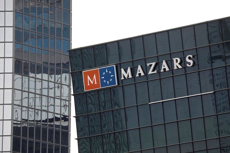 © Reuters. The logo of Mazars, an international, integrated organisation, that is specialised in audit, accounting, tax and advisory services is seen on a building in the financial district of la Defense near Paris