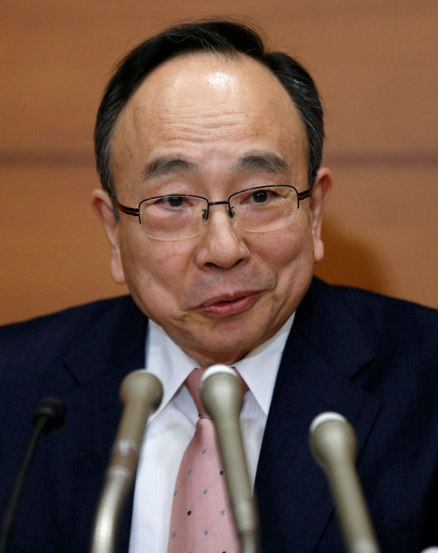 © Reuters. BOJ new Deputy Governor Amamiya attends his inaugural news conference at the BOJ headquarters in Tokyo