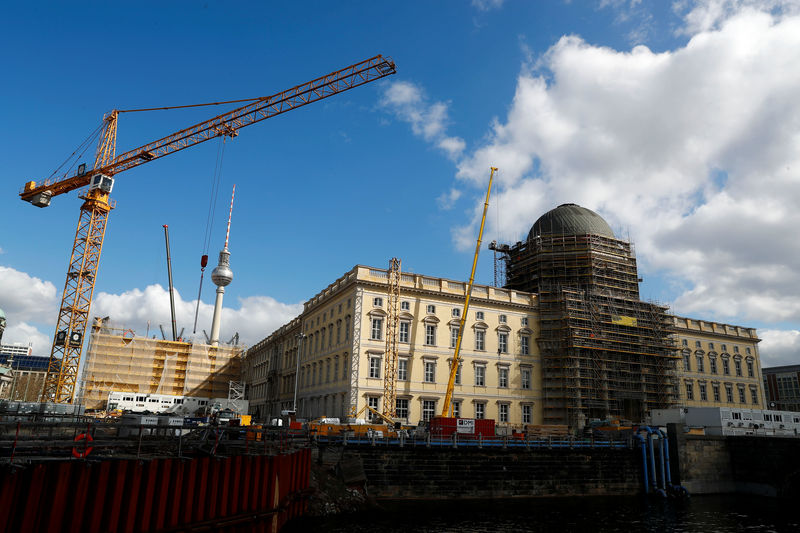 © Reuters. The finished facade at the construction site of the Berliner Schloss - Humboldtforum is pictured in Berlin