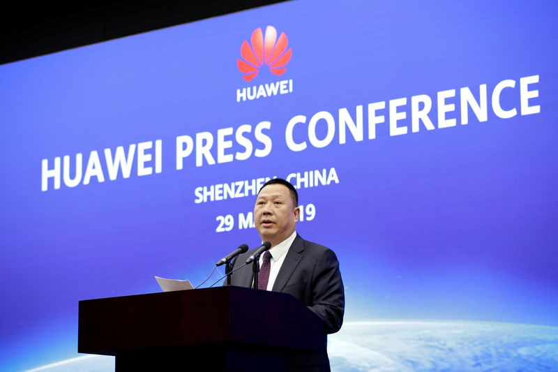 © Reuters. Huawei chief lawyer Song Liuping attends a news conference on Huawei's ongoing legal action against the US government's NDAA action at its headquarters in Shenzhen