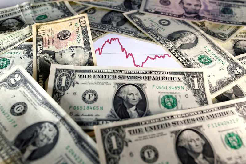 © Reuters. FILE PHOTO: U.S. dollar notes are seen in front of a stock graph in this picture illustration