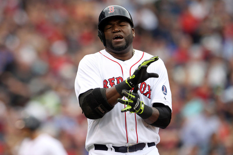 © Reuters. FILE PHOTO: Boston Red Sox Ortiz reacts to lining out in the sixth inning against hte New York Yankees during their MLB American League Baseball game in Boston