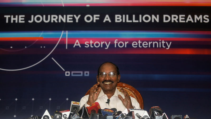 © Reuters. Kailasavadivoo Sivan, chairperson of the Indian Space Research Organization (ISRO), attends a news conference at its headquarters in Bengaluru