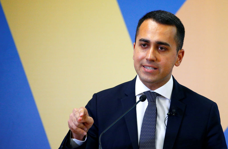 © Reuters. FILE PHOTO: 5 Star leader and Deputy PM Di Maio presents EU election program