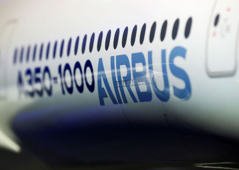 © Reuters. The Airbus logo is pictured on a scale model of an Airbus A350 as Airbus announces annual results in Blagnac