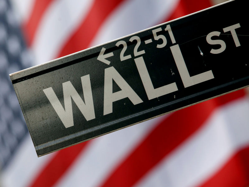 © Reuters. FILE PHOTO: A street sign is seen in front of the New York Stock Exchange on Wall Street in New York