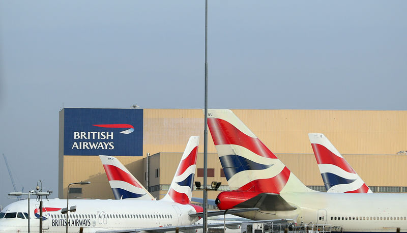 © Reuters. British Airways aircraft are seen at Heathrow Airport in west London