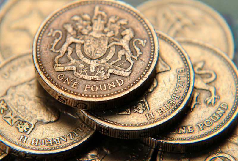 © Reuters. A pile of one pound coins is seen in a photo illustration