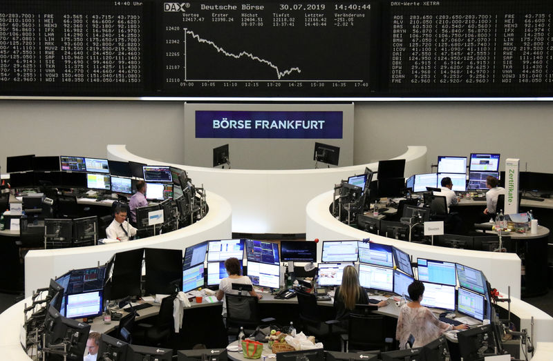 European shares steady after trade slide; Fed in focus