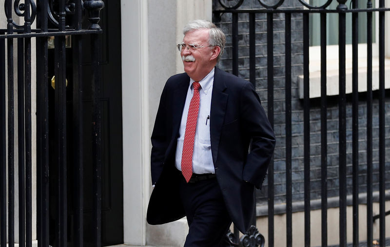 © Reuters. U.S. National Security Advisor John Bolton arrives for a meeting with Britain's Chancellor of the Exchequer Sajid Javid  at Downing Street in London