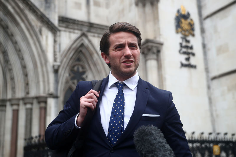 © Reuters. FILE PHOTO: Marcus Ball's court case against Boris Johnson at the Royal Courts of Justice in London