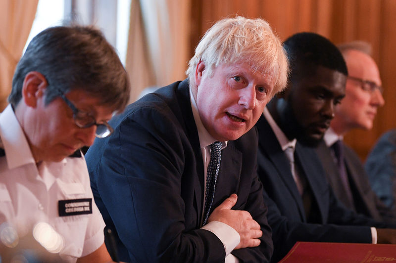 © Reuters. Britain's Prime Minister Boris Johnson attends a roundtable on the criminal justice system at 10 Downing Street